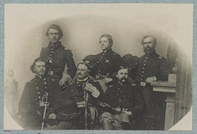 Richardson (center, seated) with members of his staff. Lt. Draper (top row, middle) later wrote that Lincoln promised Richardson command of the Army of the Potomac if he recovered. Library of Congress.
