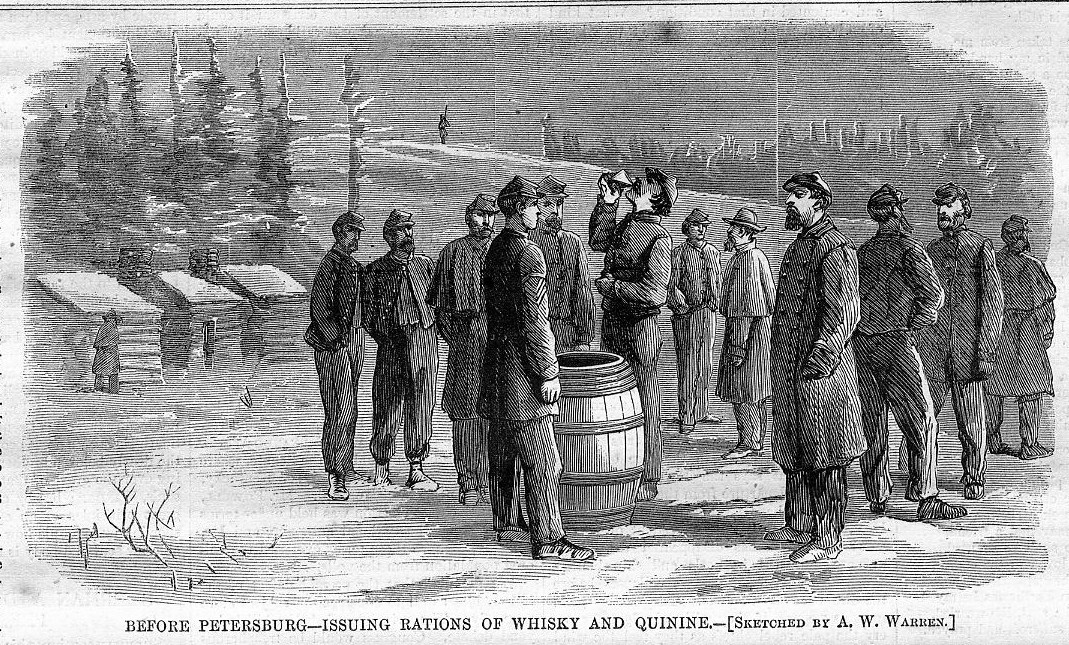 Harpers Weekly sketch of soldiers taking a quinine ration. The whiskey was meant to help with the bitterness.