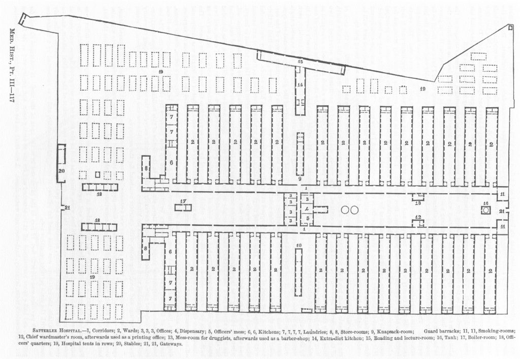 Site plan of Satterlee General Hospital, Philadelphia, PA. From The Medical and Surgical History of the Civil War