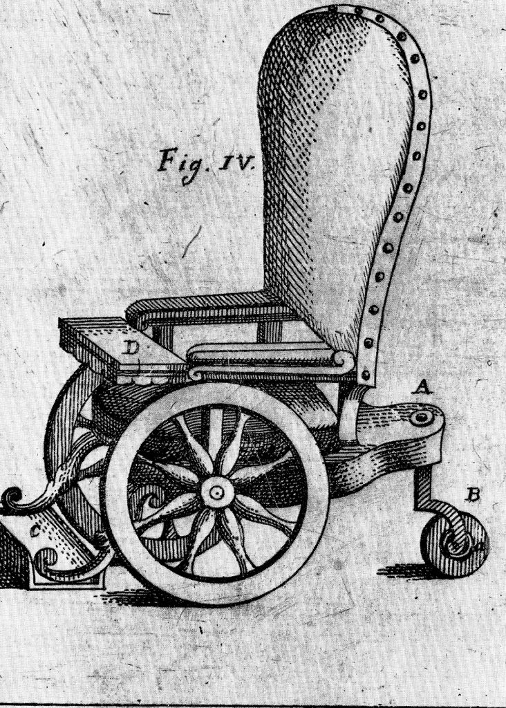 Italian wheelchair of the 8th century. Courtesy of the National Library of Medicine, Bethesda, MD