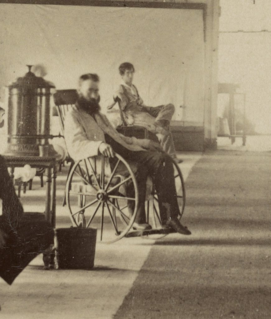Patient in wheelchair, Armory Square Hospital, 1864 Courtesy of the Library of Congress