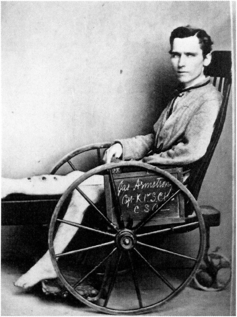CDV of Confederate soldier James Armstrong in wheelchair. Courtesy of The Burns Archive, New York, NY
