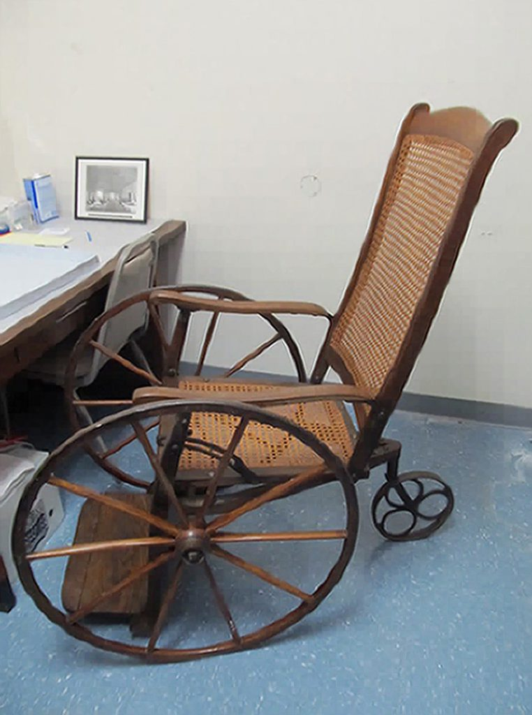 Wheelchair from the late 1860s. Courtesy of the NMCWM, Frederick, MD