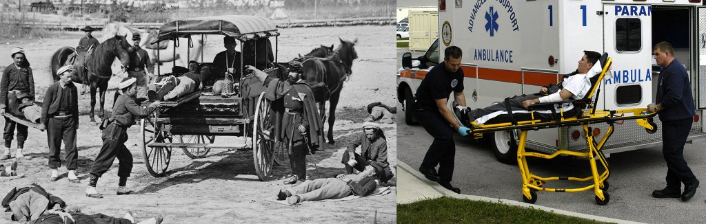 Civil War ambulance compared with a modern ambulance