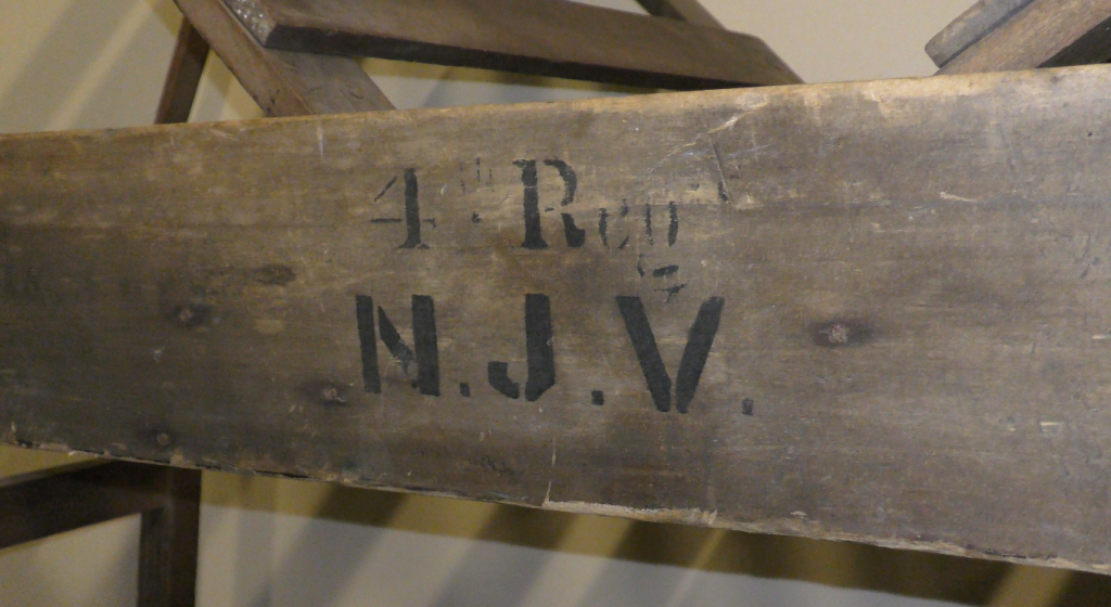 The stenciled insignia on the Coolidge Stretcher/Bed designates it as belonging to the 4th New Jersey.