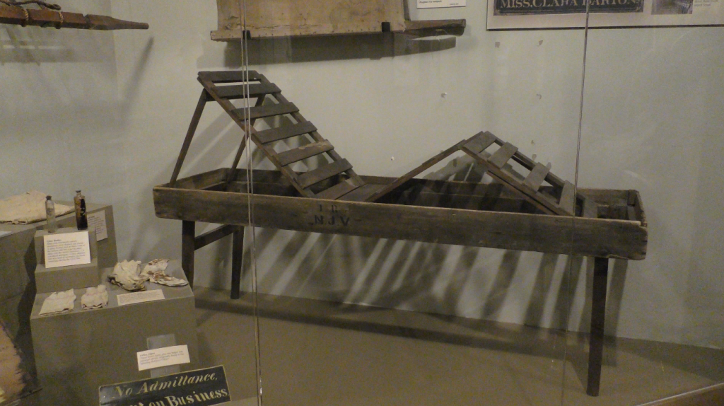 "This Coolidge Stretcher/Bed was recently re-installed into the ""Evacuation Gallery"" at the National Museum of Civil War Medicine."