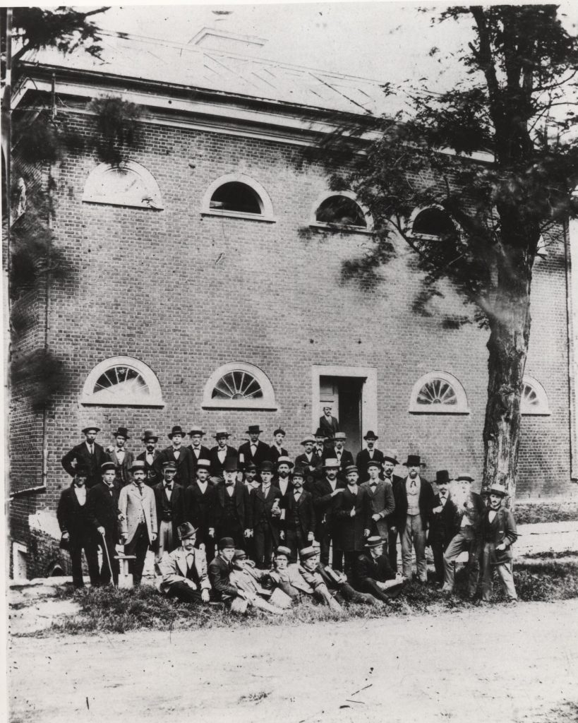 University of Virginia medical students standing outside the anatomical theater in 1873. Courtesy of the University of Virginia Special Collections