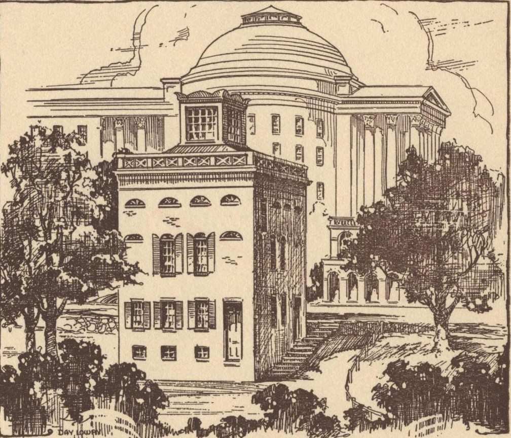 Sketch of the University's anatomical theater in the foreground. Courtesy of the University of Virginia Special Collections