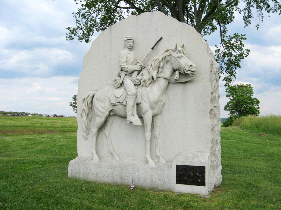 Monument to the 17th Pennsylvania Cavalry Regiment on the Gettysburg Battlefield. Courtesy of stonesentinels.com