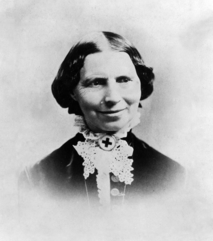 Clara Barton wearing her Red Cross pin c 1881 Courtesy of the Library of Congress