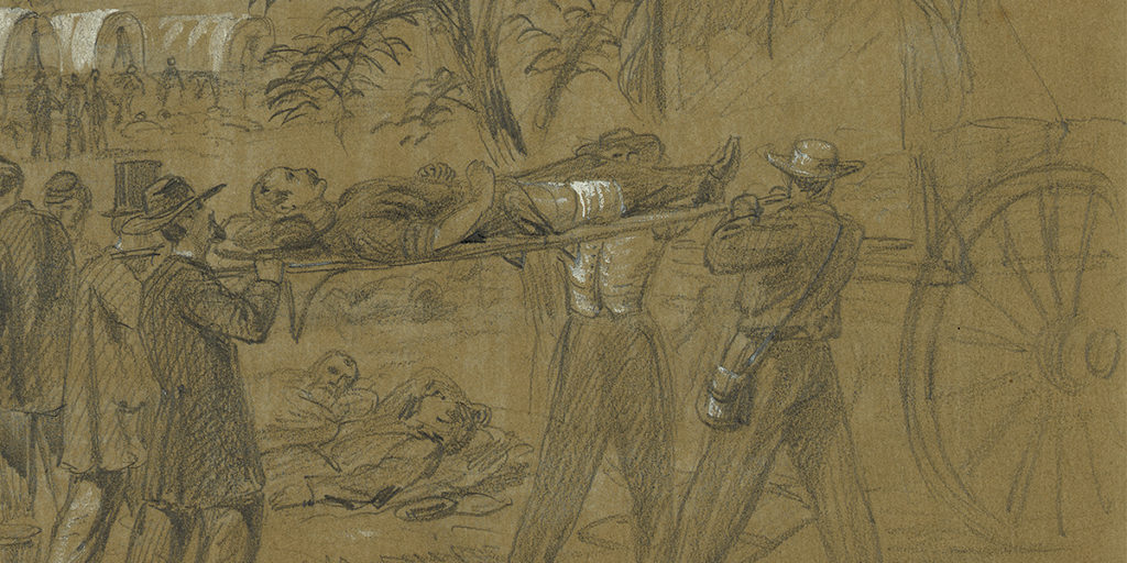 Alfred Waud sketch - Civilian volunteers assisting the wounded on the Antietam battlefield