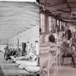 Left Civil War Armory Square Hospital in Washington DC. Right WWI Camp Hospital No 33 in Brest, France