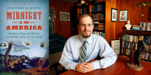 Dr. Jonathan White and the cover of his book Midnight in America