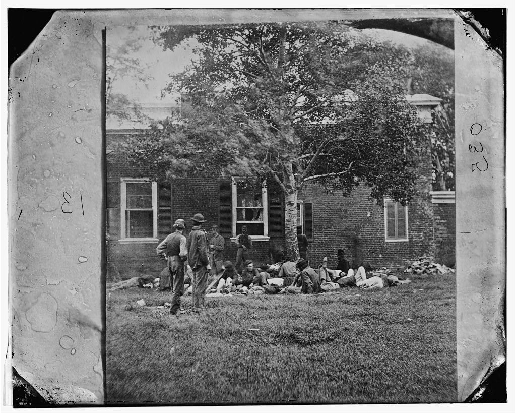 Wounded from the Overland Campaign Recovering in Fredericksburg. Courtesy of the Library of Congress