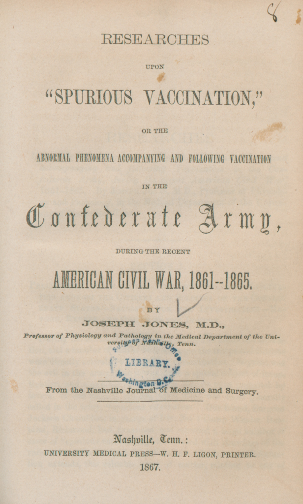 Postwar study on the Confederate vaccination crisis. Courtesy of the National Library of Medicine