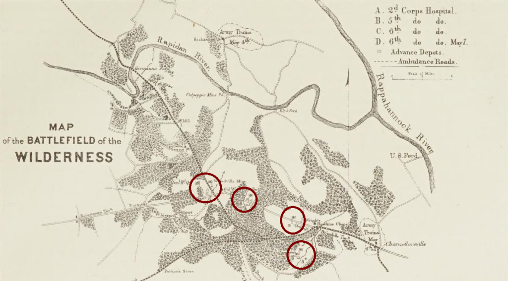 Map from the Medical and Surgical History of the War of the Rebellion detailing field hospital locations at the Wilderness
