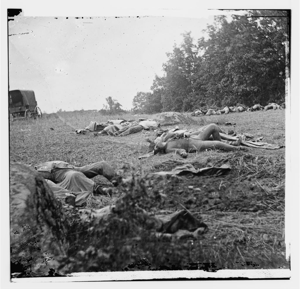 Confederate dead on the Rose Farm. The Rose family were some of the people who had to recover from the battle at Gettysburg. Courtesy of the Library of Congress