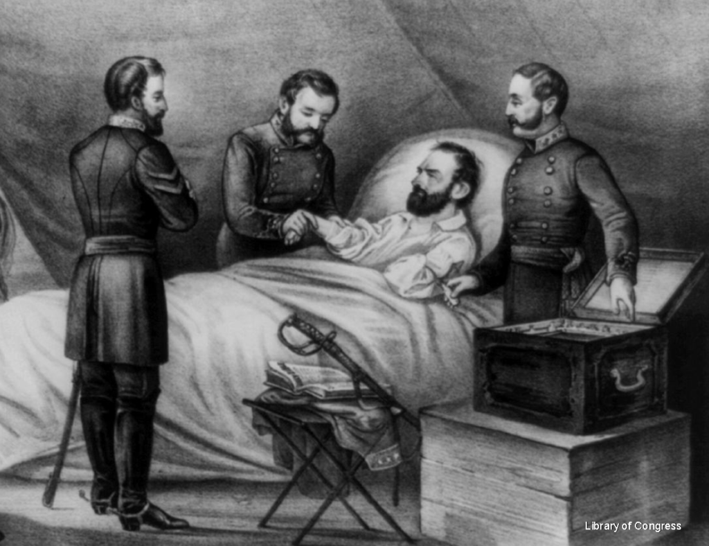 Detail from Death of Stonewall Jackson, Currier & Ives, 1872, Library of Congress