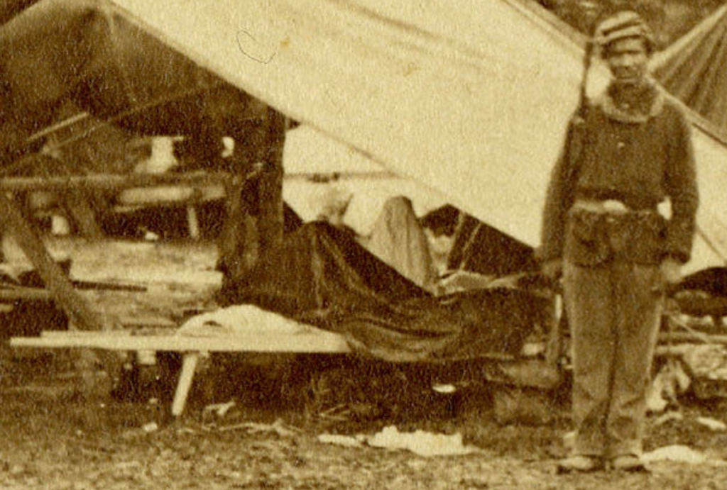 """Scenes from the Battle-Field at Gettysburg, PA. - Untitled variant of the Second Corps Hospital,"" Frederick Gutekunst, 1863, Gettysburg College Special Collections."