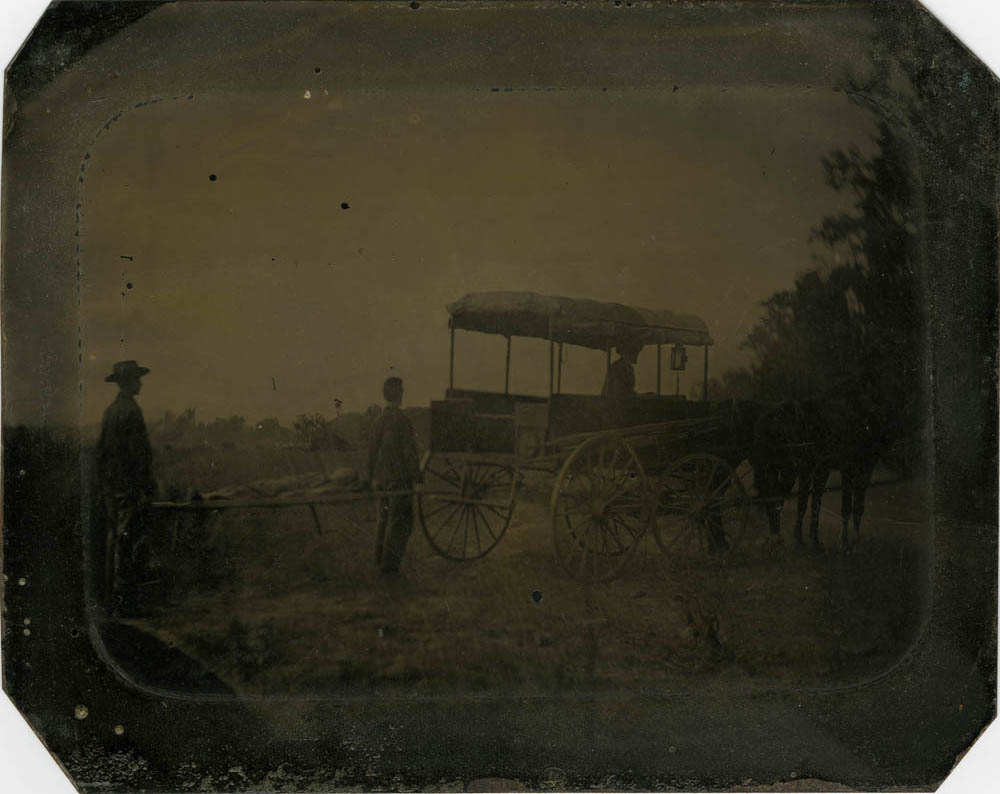 "One of the few ambulances in service at Wilson's Creek. ""Grandfather York,"" WICR 32037 Uncased, Image Courtesy of Wilson's Creek National Battlefield."
