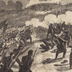 Drawing of Battle of Pea Ridge from the March 29, 1862 edition of Harpers Weekly