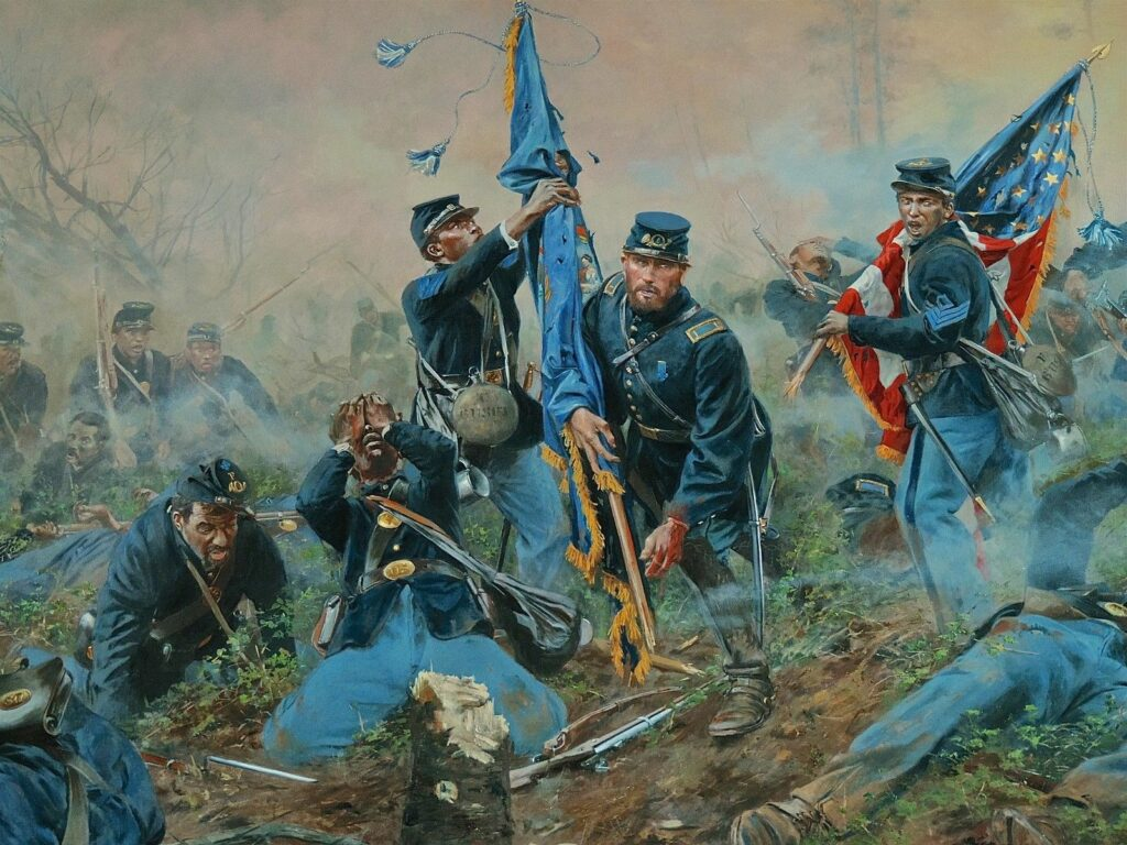 """Three Medals of Honor"" painted by Don Troiani depicting events at the Battle of New Market Heights"